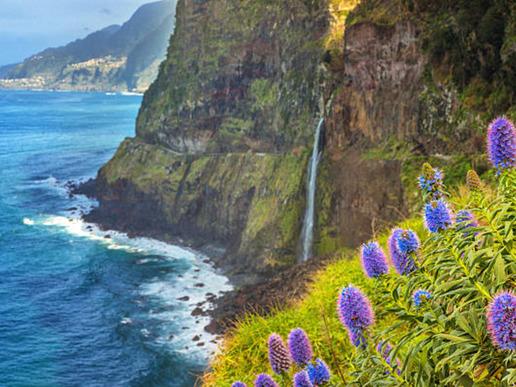 В посока север пътищата преминават през енигматичен пейзаж с пръснати водопади, където наситеното зелено контрастира с морското синьо.